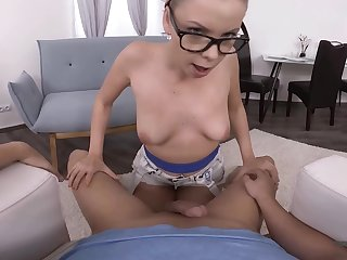 Nerdy babe Julia Parker gives a sloppy blowjob and rides cock POV