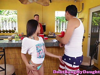 Petite teen analfucked behind stepdaddys back