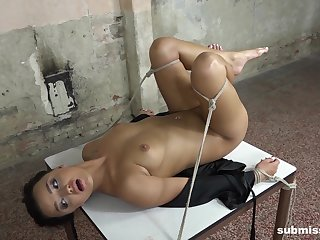 Daphne Klyde gets force fed cock while being tied up to the bed