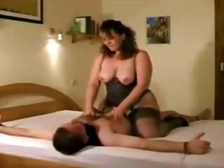 German mature lady Iris Von Hayden riding cock and jerking off