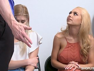 Blondie Nikki Peach and her lovely girlfriend are fucked for shoplifting