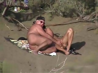 Mature amateur and his woman are enjoying in outdoor sex