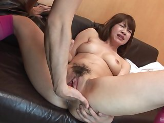 Asian with hairy pussy, ass fucked after a nice oral