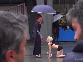 Complete whore Silvia Rubi is undressed and humiliated in public