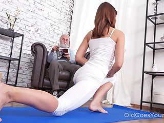 Pretty chick Mina gets fucked by her stepdad after a good yoga session