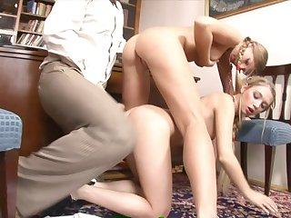 Two Sexually Attractive 18-Years-Old Blondies Tryng To Get A Jo - ejaculate