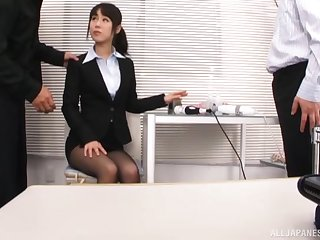 MMF threesome in the office with secretary Kitagawa Yuzu. HD