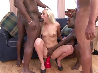 Sexy blonde model Jenny Simons moans during interracial gangbang