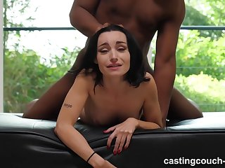 Tattooed slut was sucking a black guy's big, fat dick, because he asked for it