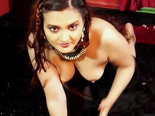 Dolon Black Saree solo Nude