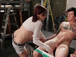 Redhead cougar Paries Kennedy takes a long dick in her holes