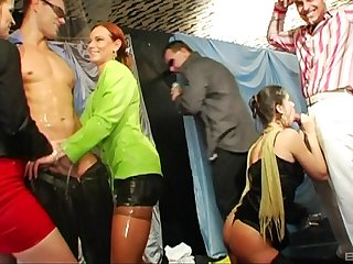 Kinky fucking between handsome dudes and oiled glamour sluts