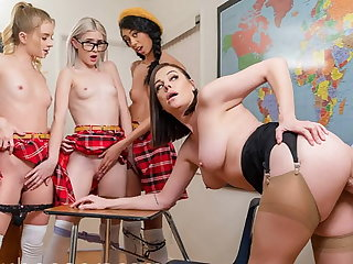 VR BANGERS, Classroom Valentines Day Sex Party With Hot Babes