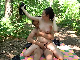 Hot ass brunette Jennifer enjoys riding a dick in the local woods