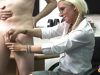 Blonde secretary Krystal Niles gives her boss a handjob in the office