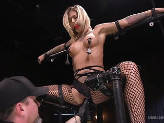 Busty blonde pornstar Kleio Valentien tied up and penetrated