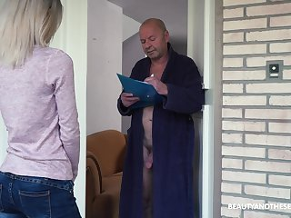 Crazy old fart gets to fuck a pretty young woman and that girl is so sweet