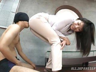 Adorable Asian chick Miku Sunohara enjoys grinding on his dick
