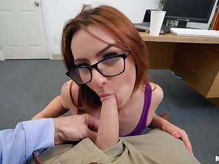 Ginger student babe tries to satisfy her professor and gets messy facial