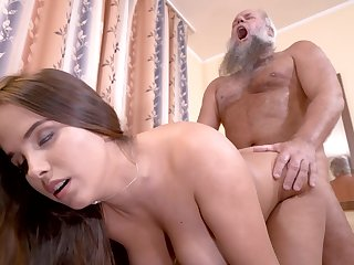 Curvy girl cunt filled by grandpa cock in his living room