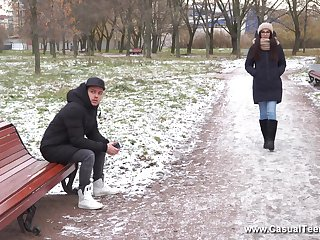 Long haired brunette Russian teen Bell Knock gets a mouth full of cum